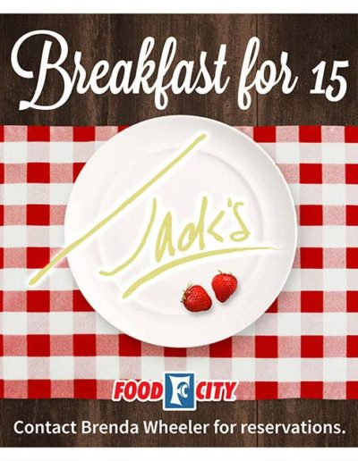 Fallon Ray Art Graphic Design Layout Illustration Poster Iron Man Sign Stanchion Food City Jacks Breakfast for 15